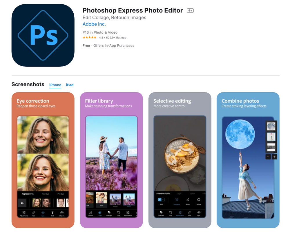 Photoshop express photo editor best mobile app photo editor 2021 best ios and android photo editing app